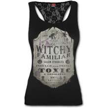 WITCHY FAMILIAR - Racerback Lace Top Black
